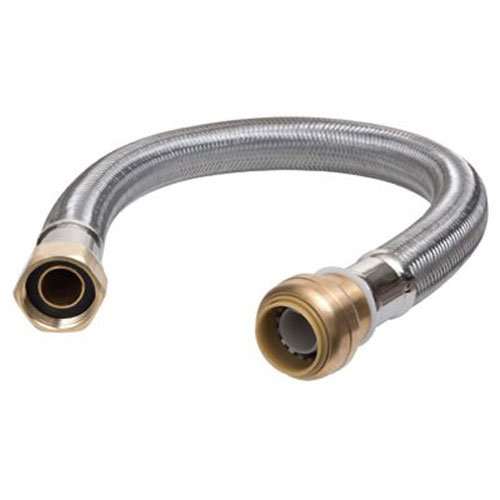 Stainless 24 Inches Flex Connector (CASH ACME GIDDS-134240 U3088FLEX24LF Water Heater Connector 3/4-Inch x 3/4-Inch x 24-Inch length Brass)