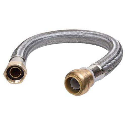 (SharkBite U3088FLEX24LFA Flexible Water Heater Connector 3/4 inch x 3/4 inch x 24 inch, Push-to-Connect Braided Stainless Steel Water Heater Hose)
