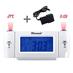 Moobom Projection Alarm Clock With AC Adapter Electronic Dual Wall-Projection Voice/Clap-control Alarm Clock Backlight LCD Display with Time/Date/Month/Week/Temperature (White+Blue)