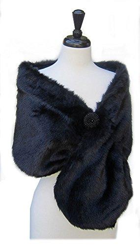 Black Faux Fur Adult Costumes Cape (SACASUSA(TM) Long Beautiful shape Faux Fur Shawl Stole Cape in Black)