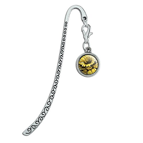 Metal Bookmark Page Marker with Charm Flowers - Daffodil