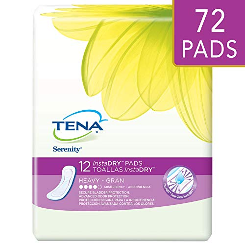 Tena Incontinence Pads For Women, Instadry Heavy, Regular, 72 Count ()