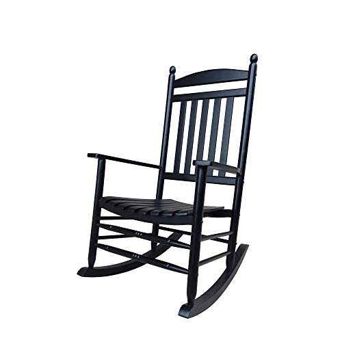 Rocking Rocker-A040BK Black Porch Rocker/Rocking Chair -Easy to Assemble-Comfortable Size-Outdoor or Indoor Use (Renewed)