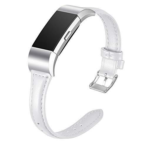 Henoda Leather Bands Compatible with Fitbit Charge 2, Slim Classic Genuine Replacement Accessories Strap for Charge 2 Women Men Small Large (White, 6.5