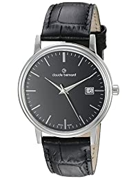 Claude Bernard Men's 53007 3 NIN Classic Gents Analog Display Swiss Quartz Black Watch