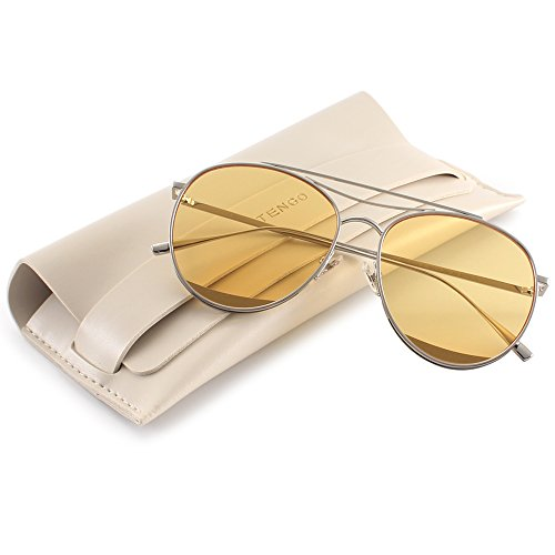 TRSELLWIER Round Frame Flat Lenses Novelty Teardrop Design Fashion Metal Frame Women Sunglasses ODD Style - - Odd Glasses Frames