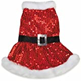 Cheap Zack & Zoey Mrs. Claus Sequin Dress for Dogs, 10″ X-Small, Red