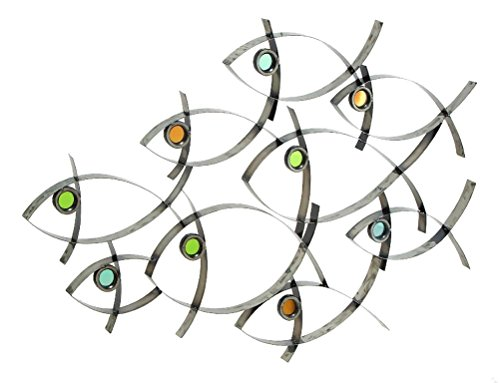 Deco 79 Metal Fish Decor, 39 by 27-Inch
