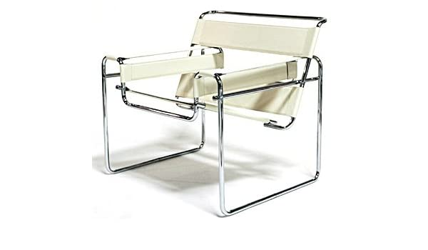 Amazon.com Marcel Breuer Wassily Style Chair - White Leather    Kitchen u0026 Dining  sc 1 st  Amazon.com & Amazon.com: Marcel Breuer Wassily Style Chair - White Leather ...