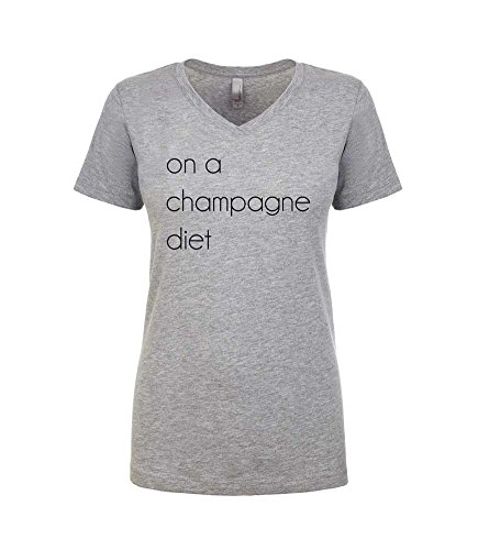 (Champagne Shirt. On A Champange Diet Shirt. Women's Fitted V-Neck Tshirt. Brunch Shirt. (Heather Grey, X-Large))