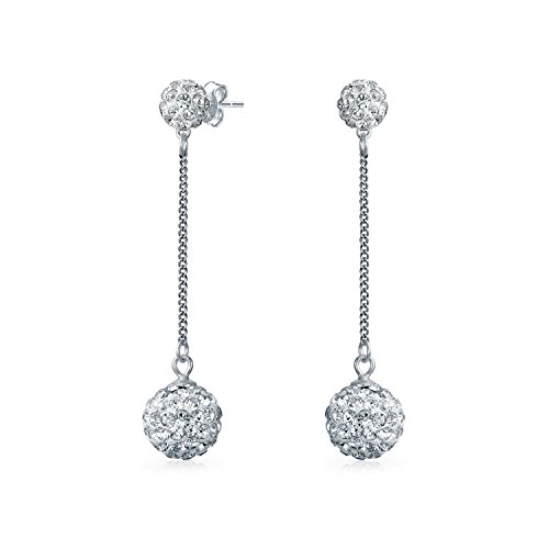 - White Crystal Pave Round Double Disco Ball Drop Linear Prom Pageant Dangle Earrings For Women 925 Sterling Silver