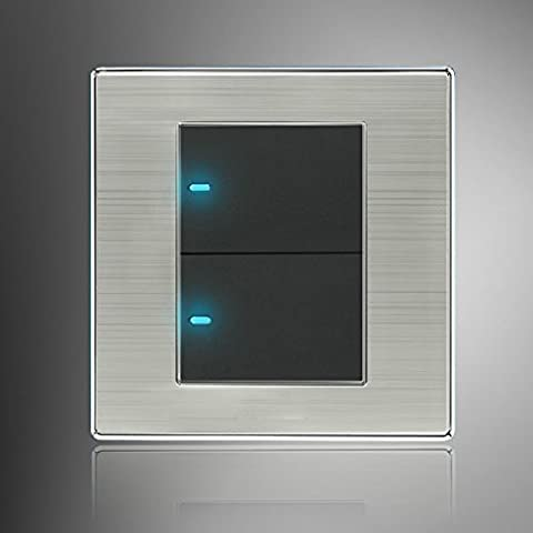 LED Wall Switch Panel Two Switch Single/Double Control 250V 10A. - 120v 420w Lamp