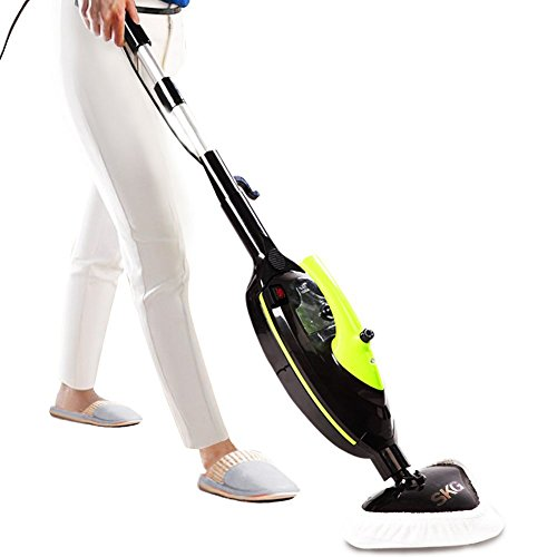 SKG 1500W Powerful Non-Chemical 212F Hot Steam Mops & Carpet and Floor Cleaning Machines (6-in-1 Accessories & 3 Microfiber Pads Included) - Floor Steam Cleaners Machine - Cleaning Floor