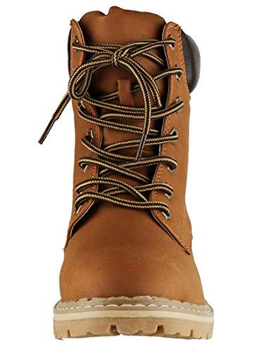 Cambridge Select Women Work Combat Military Middenkalf Lug Sole Boot Tan