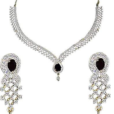 8636f9cdcf Buy Kalavi American Diamond Fashion Jewellery Set Necklace Earrings for  Women (Black Stone) Online at Low Prices in India | Amazon Jewellery Store  - Amazon. ...