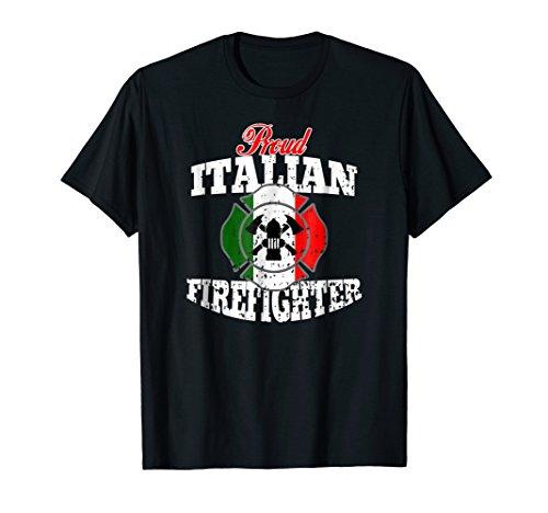Proud Italian Fireman T-shirt Italy Flag Firefighter Badge