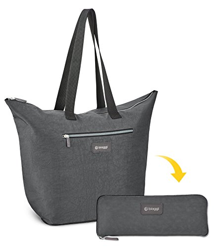 Biaggi Zipsak Micro-Fold Shopper - 16-inch Tote - As Seen on Shark Tank - Gray