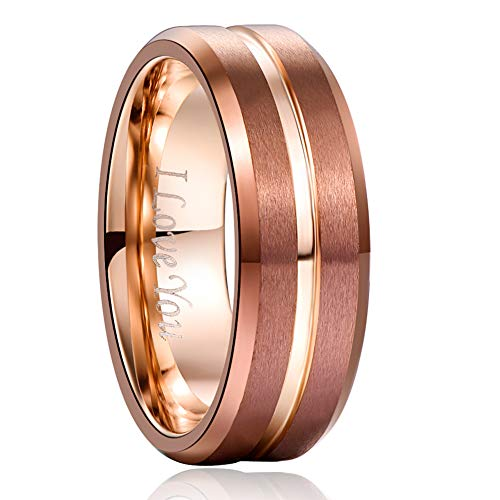 NUNCAD Brown and Rose Gold Tungsten Carbide Ring Center Groove Beveled Edges Comfort