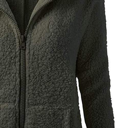 lgant paissir Jacket Slim Manteau Outerwear Poches Chic Hiver Armee A Manches Capuche Longues Mode Veste Gaine A Capuche avec grn Femme Latrales Vintage Zip Casual Automne Fit WS0fAq