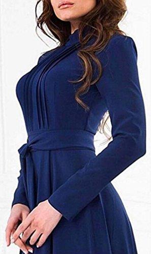 Dress Long Jaycargogo Long High Women's Elegant Blue Sleeve Waist Crewneck Swing c6nzZ7O
