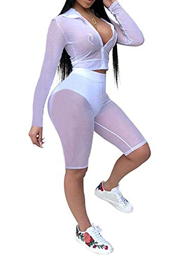 Women See Through Off Shoulder Long Sleeve Fishnet Crop Tops Bodycon Shorts Party Clubwear Tracksuit 2pcs Outfit Set (E-White, M) ()