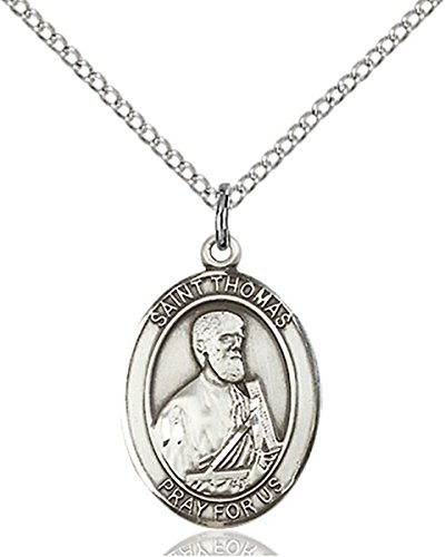 Sterling Silver Saint Thomas the Apostle Medal Pendant, 3/4 Inch