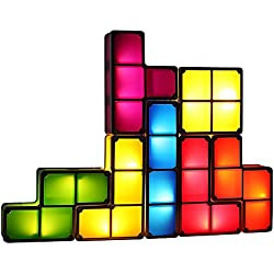 TACTBIT DIY Tetris Night Light, 7 Colors Stackable Tangram Puzzle LED Rechargeable Induction Interlocking Lamp 3D Magnetic Toys Ideal Gift for Home Decorations - Built-in Battery