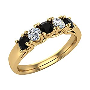 0.50 ct tw Black & White Classic Five Stone Diamond Wedding Band Ring 14k Yellow Gold (Ring Size 5)