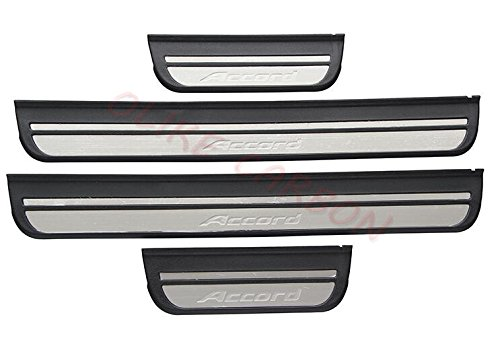 (OLIKE for Honda Accord 2008-2012 8TH ABS+ Stainless Steel Door Sill Scuff Plate Guard Sills Protector Trim (Black ABS+Stianless Steel))
