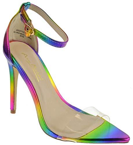 Anne Michelle Exception 10 Womens Single Band Open Toe Platform Heeled Dress Sandals Rainbow 6