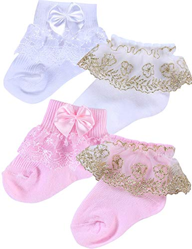 PrinceSasa infant newborn toddler baby girl Princess party lace ruffle frilly socks(Pack of 4),A2,size 0-1 Year(1Y)]()