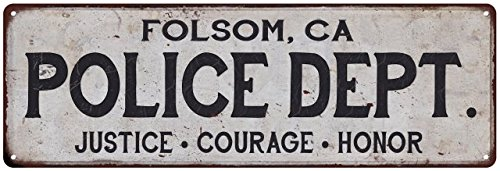 Amazon.com: Folsom, ca Policía Dept. Vintage aspecto metal ...