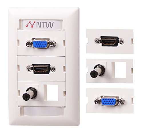 - NTW Customizable Unimedia Wall Plate with personizable ID tag -  HDMI Pigtail, VGA, 3.5mm Audio Pass Through, and one Blank keystone hole - 3UNC-VHP35B