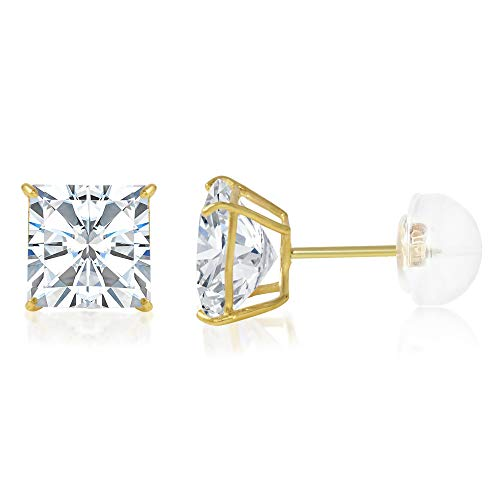 Ioka - 14K Yellow Gold Square Solitaire Princess Cut Cubic Zirconia CZ Stud Push Back Earrings - 1.25 ct - Gold Settings Square