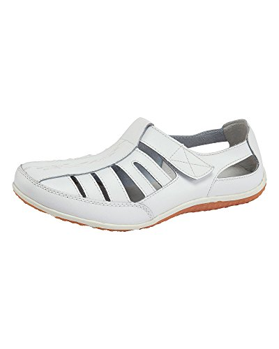 Cotton Traders Womens Ladies Casual Leather Cut Out Comfort Shoes E Fit White 5