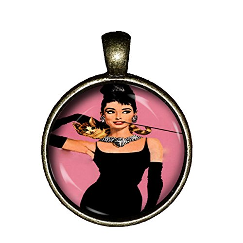 Chaoticfashion Audrey Hepburn Necklace Breakfast at Tiffany's Handmade Pendant Charm