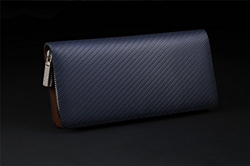 c3a94f405a William POLO Men s Genuine Leather Zip Around Long Clutch Purse Mens Zipper Business  Billfold Wallet ID