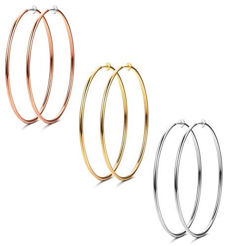 Udalyn 3 Pairs Women Big Stainless Hoop Earrings Set Clip On Hoop Earrings For Women Large Non Pierced Earring Jewelry 60mm
