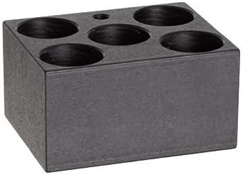 "Talboys 949127 Anodized Aluminum Conical Bottom Centrifuge Tube Single Heat Block, 5 Well, 29.0mm Well Diameter, 3.75"" Length x 3"" Width x 2"" Height, For 50mL Tube"