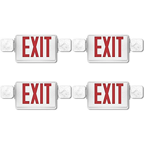 (Sunco Lighting 4 Pack Double Sided LED Emergency EXIT Sign, Two LED Flood Lights, Backup Battery, US Standard Red Letter Emergency Exit Lighting, Commercial Grade, Fire)