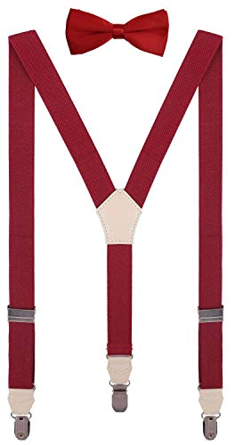 CEAJOO Men Bow Tie and Suspenders Set Adjustable Y Back 47