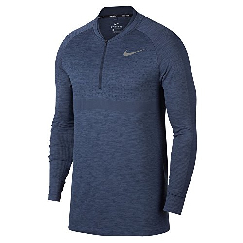 Nike Dri Fit 1/2 Zip Seamless Top Golf Pullover 2018 Light Carbon/Thunder Blue/Black Small