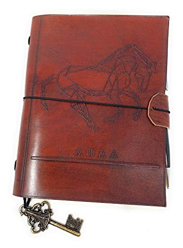 Wrapped Journal (3D Horse Embossed -Genuine Leather Wrapped Embossed Journal Diary Personal Notebook – for Writers, Travelers, and Executives – Unique Gift for Men Women Grandparents)