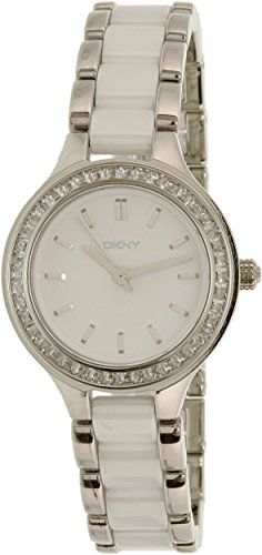 Authentic Ceramic Watch - DKNY Women's 'Chambers' Quartz Stainless Steel and Ceramic Casual Watch, Color:Silver-Toned (Model: NY2494)