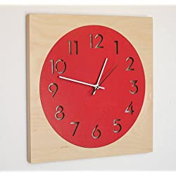 Round + Square Modern Wall Clock with Birch Frame and Laser Cut Face (Poppy Red) by Uncommon Handmade