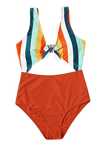 SweatyRocks Women's Sexy Bathing Suit Tie Knot Front Cutout High Waisted One Piece Monokini Swimsuit Multi L