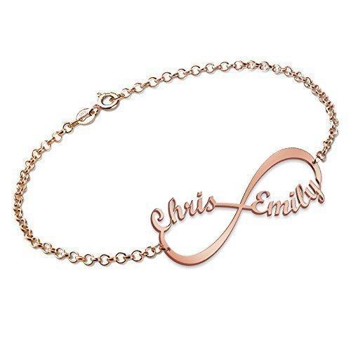 nouveau authentique différents types de recherche d'authentique Bracelet Infini avec 2 prénoms en Plaqué Or Rose, Personnalisation Gratuite  avec 2 Noms de votre choix