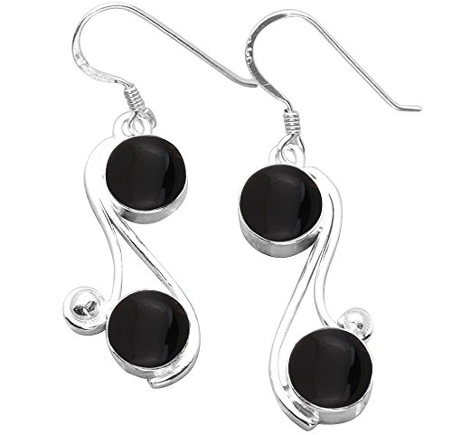 (8.00ctw, Genuine Black Onyx & 925 Silver Plated Dangle Earrings Made By Sterling Silver Jewelry)