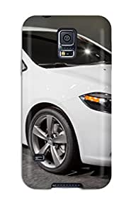 Earurns Premium Protective Hard Case For Galaxy S5- Nice Design - Dodge Dart Shiny White