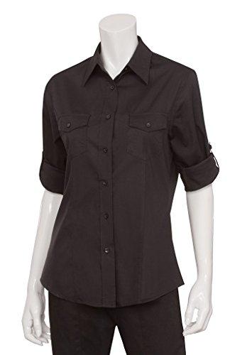 Uniforme obras camiseta mujer señoras Piloto mujer traje de trabajo superior Jersey blusa, XL, negro, 1